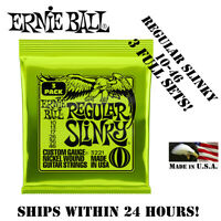 **3 SETS ERNIE BALL 2221 REGULAR SLINKY ELECTRIC GUITAR STRINGS 10-46**