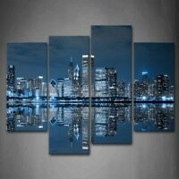 Framed Blue Buildings Chicago Wall Art Painting The Canvas Print City Pictures