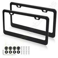 2x Black Stainless Steel Metal License Plate Frame Tag Cover for Chevrolet/Buick