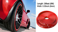 26FT Red Vehicle Car Wheel Hub Rim Trim Guard Protector Rubber Strip Universal