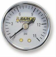 Earls analog Mechanical Fuel Pressure Gauge 1 1/2 Dia White Face 100195ERL