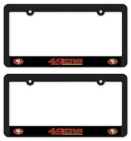 (2) SAN FRANCISCO 49ERS License Plate Frames Matte Black car football accessory