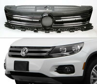 Replacement Chrome w/ Black Front Bumper Grill for Volkswagen Tiguan 2012-2017