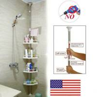 NO RUST BATHROOM TELESCOPIC CORNER SHELF STORAGE 4TIER SHOWER Caddy ORGANISER US