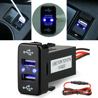 Quick Charge Dual USB Port Fast Car Charger with Audio Socket for Toyota 12V-24V