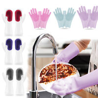 Pair Dish Washing Gloves Silicone Cleaning Scrubbing Glove Kitchen Scrubber Home