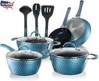NutriChef Nonstick Cookware Excilon Home Kitchen Ware Pots & Pan Set (Blue)
