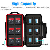 Water Resistant Holder Storage Memory Card Case Fits 12 SD+12 Micro SD TF Card