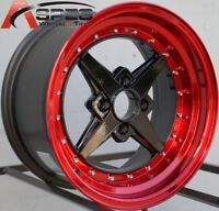 15X8 ROTA ZERO PLUS WHEELS 4X100 RIM +0MM BLACK RED LIP