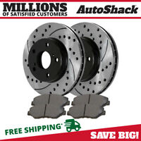 Front (2) Drilled Slotted Rotors (4) Ceramic Brake Pad Fits 91-1995 Acura Legend