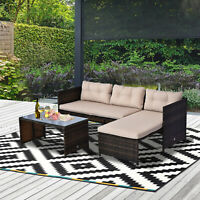 3PC Patio Rattan Wicker Sofa Set Cushined Couch Furniture Outdoor Garden
