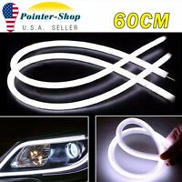 2X White 60cm Car Flexible Tube LED Strip Daytime Runnning  DRL Light Headlight