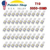 50x Super White T10 5050 5-SMD LED Interior Light bulbs W5W 192 194 158 168 2825