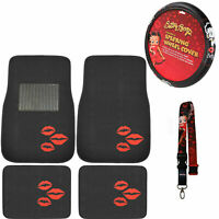 New Betty Boop Kiss Car Truck Front Rear Floor Mats & Steering Wheel Cover Set