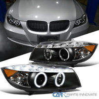 06-08 BMW E90 3-Series 325i 330i 4Dr Black LED Halo Projector Headlights Pair