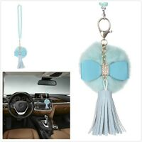 Blue Car Bling Accessories Mirror Hanging Diamond Crystal Bow for Girls Women