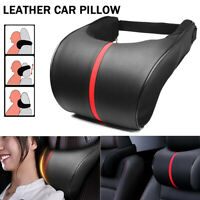 Leather Car Seat Neck Pillow Auto Memory Foam Headrest Travel Cushion Black+Red