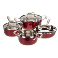 Red Metallic Stainless Steel 6-Pc. Cookware Set by Home-Style Kitchen