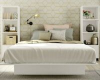 White 3 Pc Queen Bedroom Set Bookcases Bed Nightstand Modern Furniture ON SALE!