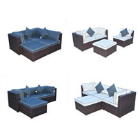 Outdoor Furniture Patio Sofa Set Rattan Wicker Sectional Lounge Couch Cushioned
