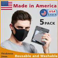 5-PACK Black Face Fashion Mask Washable Reusable Unisex Adult MASK Made  IN USA