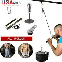 Fitness Pulley Cable Gym Workout Equipment Machine Attachment System Home US