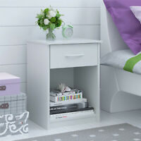 Classic Nightstand Composite Wood Open Shelf W/ Drawer Home Bedroom Decor White