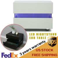 LED Bedside End Table Nightstand 2 Drawers Modern High Gloss Night Stand Cabinet