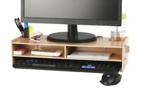 AZLife Desktop Monitor Stand, Wooden Monitor Riser TV Stand, with Slots for and