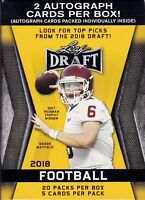 2018 Leaf Draft Football sealed unopened blaster box 20 packs of 5 cards 2 auto