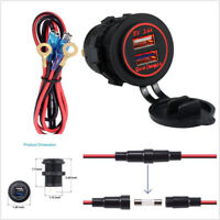 Red LED Indicator Dual USB Port Car SUV Marine Truck Quick Boat Charge 3.0