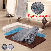 2x Bath Rug Mat Non-Slip Ultra Absorbent Shower Door Floor Carpet Rugs Bathroom
