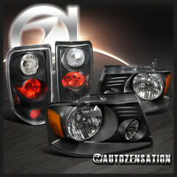 For 2004-2008 Ford F150 XL XLT Black Clear  Headlights+Tail Lamps Pair