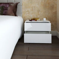 White Bedside Cabinet Table Nightstand With RGB LED High Gloss