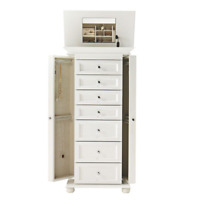 White Finish Solid Wood Jewelry Armoire Cabinet Home Bedroom Storage Organizer