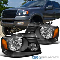 Ford 04-08 F150 Lincoln 06-08 Mark LT Euro Black Clear Headlights Driving Lamps