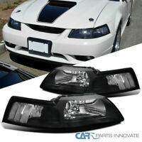99-04 Ford Mustang Cobra Euro Black Housing Clear Lens Headlights Lamps Pair
