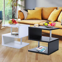 2 Tier Side End Coffee Table Storage Shelves Sofa Couch Living Room Furniture