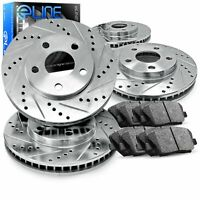 Front and Rear eLine Drilled Slotted Brake Rotors &  Ceramic Pads CEC.42089.02