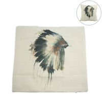 Square Linen Indian Hat Printed Car Throw Cushion Pillow Cover Home Decor