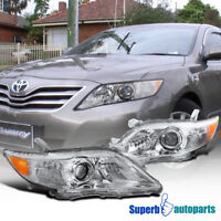 fit 2010-2011 Toyota Camry Projector Headlights Crystal Clear W/Amber Reflector
