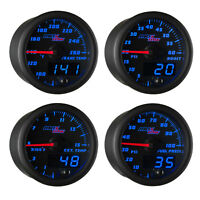 GlowShift Black & Blue Gauges Kit Boost & Pyrometer & Trans Temp & Fuel Pressure