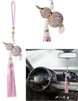 Luxury Pink Car Bling Accessories Mirror Hanging Diamond Crystal for Girls Women