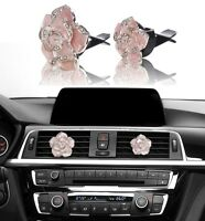 Bling Pink Car Accessories Interior Decoration for Girls Women Crystal Flowers