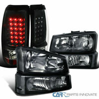 03-07 Chevy Silverado Pickup Black Headlights+Bumper Lamps+LED Rear Tail Lights