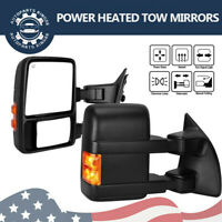 Pair for 99-07 Ford F250 F350 Super Duty Tow Mirrors Power Heated Amber Signals