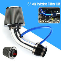3'' Universal Aluminum Silver Car Cold Air Intake Filter Induction Kit Pipe Hose