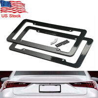 2pcs Car Carbon Fiber Black Front Rear License Plate Frame Cover with Screws US