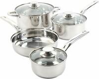 STAINLESS STEEL COOKWARE SET 7 Piece Kitchen Cooking Pot Pans Home Essential Kit