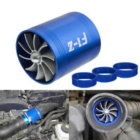 Double Air Intake Turbine Turbo SuperCharger Gas Fuel Saver Fan Charger New 2019